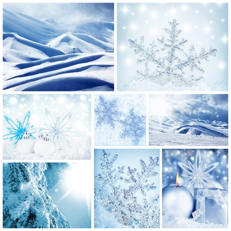 Beautiful wintertime concept collage with decorations, landscapes & macro snowflakes photo