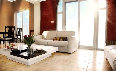Luxury apartment with stylish modern interior design Stock Photo