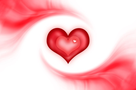 Abstract love background with red heart logo Standard-Bild
