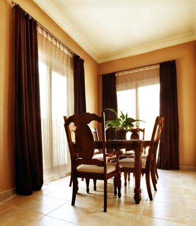 Luxury apartment with stylish modern interior design, dining room photo