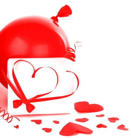 Gift box with red hearts border & ribbon isolated on white background, conceptual image of love & Valentine's day holiday Stock Photo - 8638547