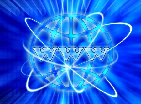 information technology logo: Blue WWW internet digital world background, conceptual image of world wide web & communications Stock Photo