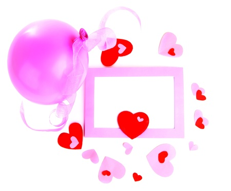 Pink romantic holiday photo frame with hearts isolated on white background Stock Photo - 8749901