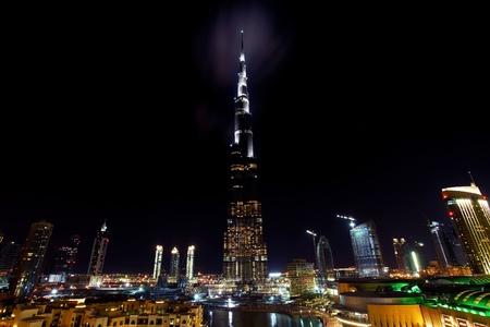 Dubai downtown night scene with city lights Stock Photo - 8749913