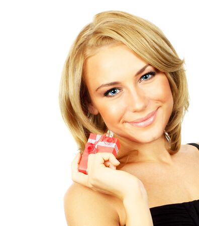 Beautiful female holding gift, closeup portrait isolated on white background, happy people concept Stock Photo - 8749937