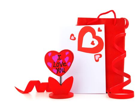 Blank card with red heart & flower holder isolated on white background Stock Photo - 8749921