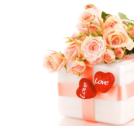 Romantic gift & roses border, isolated on white background, love concept photo
