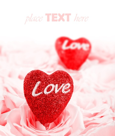 Pink fresh roses background with red hearts & copyspace, love concept Stock Photo - 8749965