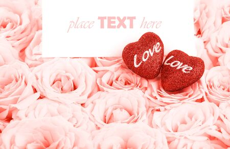 Pink fresh roses background with red hearts & blank greeting card, love concept Stock Photo - 8749980