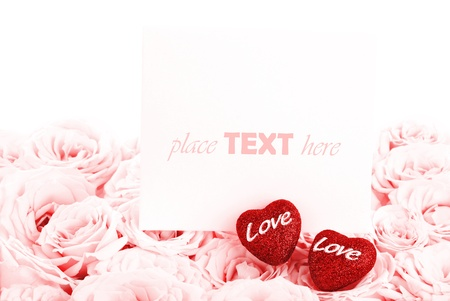 Pink fresh roses background with red hearts & blank greeting card, love concept Stock Photo - 8749967