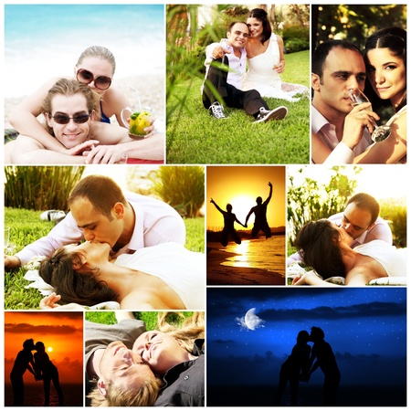 Love concept collage with various images of happy young couples photo