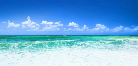 panoramic beach: Beautiful panoramic sea view, with clean water & blue sky