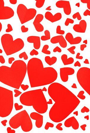 Red hearts background, many paper hearts isolated on white  photo