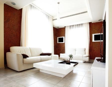 Luxury apartment with stylish modern interior design photo
