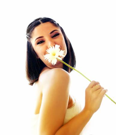Young happy bride with flower isolated over white background photo
