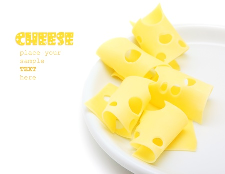 emmental: Tasty cheese slices on the plate, studio isolated food with text space Stock Photo