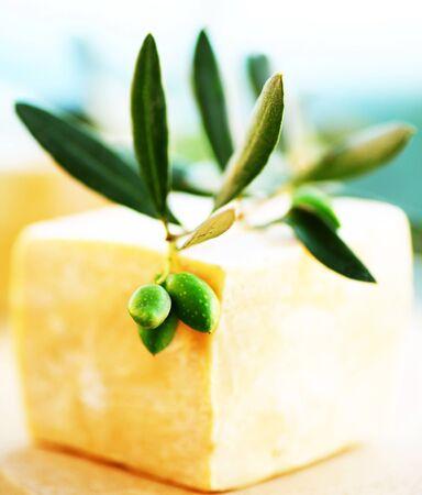Green olive soap bar, spa & skin care concept photo