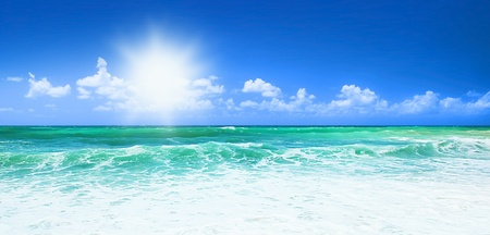 panoramic beach: Beautiful blue beach panoramic sea view, with clean water & blue sky, concept of vacation & peace Stock Photo