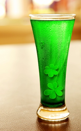 mug of ale: Cold green clover beer for st.Patricks day holiday celebration, lucky concept