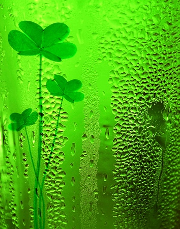 irish symbols: Green clover beer background st.Patricks day holiday celebration, lucky conce