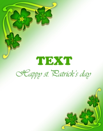 Green clover holiday border, st.Patricks day decorative frame isolated on white background with text space photo