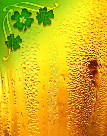 Beer background with clover border, St.Patricks day holiday celebration, lucky concept photo