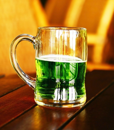 Cold green beer for st.Patricks day holiday celebration photo