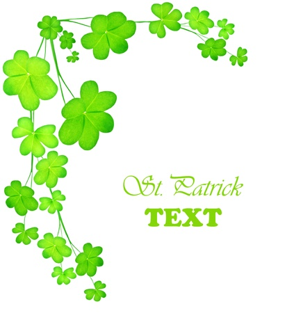 Green clover holiday border, st.Patrick's day decoration isolated on white background with text space Stock Photo - 8980322