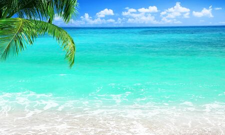 Beach, beautiful panoramic sea view, with clean water & blue sky photo
