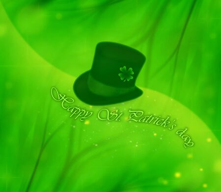 leprechaun's hat: Green clover holiday bachground collage, st.Patricks day decoration, leprechauns hat Stock Photo