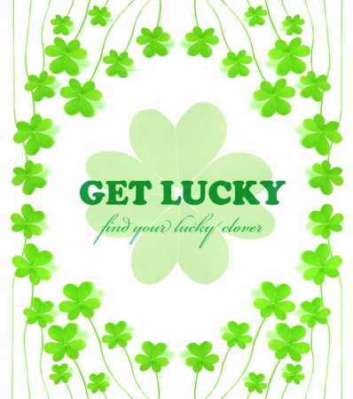 Green clover holiday frame collage, st.Patricks day decoration isolated on white background with text space photo