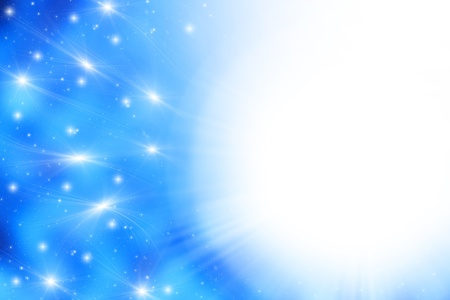galaxies: Blue space background with glowing stars galaxies & light