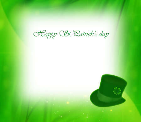 Green clover holiday bachground card collage, st.Patricks day decoration, leprechauns hat photo
