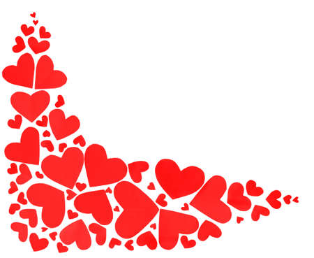 Red hearts border of many paper hearts isolated on white background with copy space photo