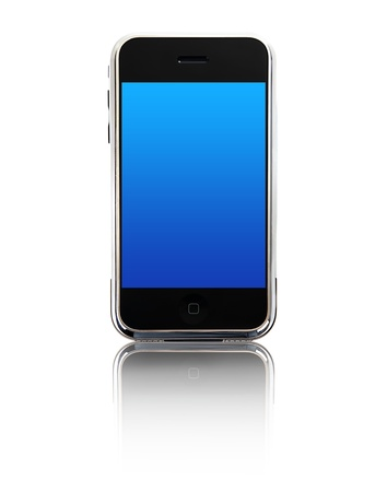 Mobile phone photo isolated on white background, conceptual image of communication & business