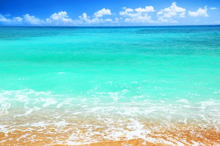 Beautiful panoramic sea view, with clean water & blue sky photo