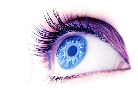 eyes open: Beautiful abstract blue eye, extreme closeup, with fashionable makeup  Stock Photo