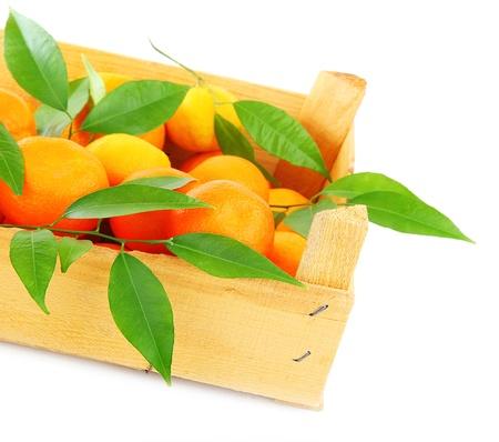Boîte de mandarines orange frais, fruits isolés sur fond blanc, concept de récolte & concept alimentaire sain