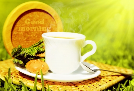 Morning beverage, tea or coffee with french crouton over fresh green grass photo