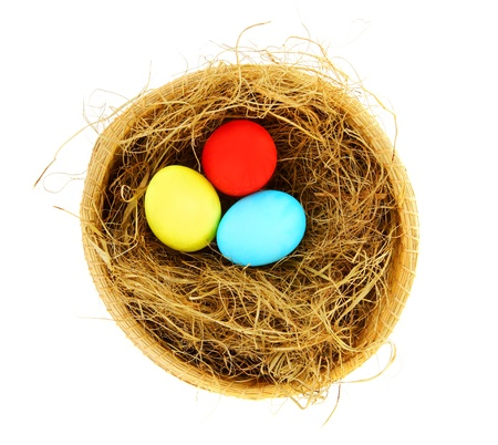 Easter colorful eggs with dry grass in the nest isolated on white background photo