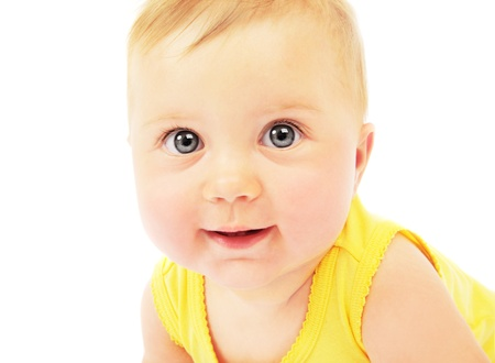 Cute baby face portrait isolated on white background photo
