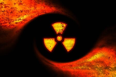 radiation pollution: Toxic symbol abstract background , conceptual image of earth pollution & environmental danger Stock Photo