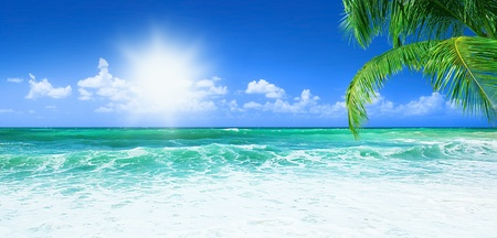 panoramic beach: Beach, beautiful panoramic sea view, with clean water & blue sky Stock Photo