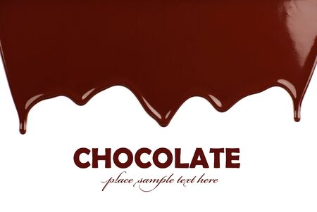 chocolate melt: Dark dolce gustoso cioccolato confine, liquido cadere sfondo marrone con spazio testo Archivio Fotografico
