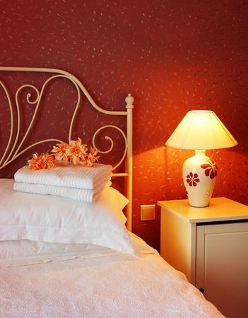 Romantic bedroom luxury interior design with warm light photo