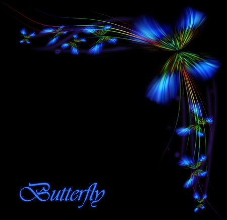Beautiful digital butterfly, designed logo isolated on black background  Stock Photo