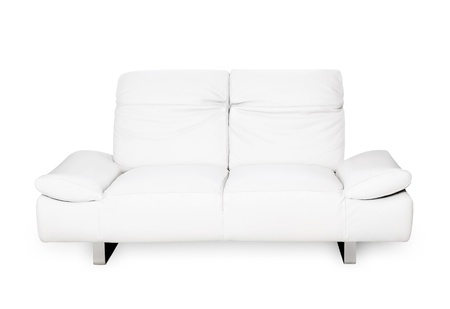 Comfortable modern sofa, white natural leather, elegant design, isolated on white background  Stock Photo - 9482353