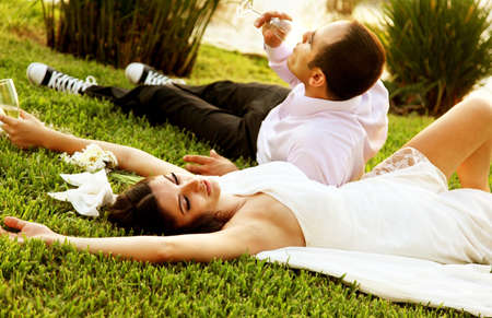 Happy new young family outdoor, wedding day photo