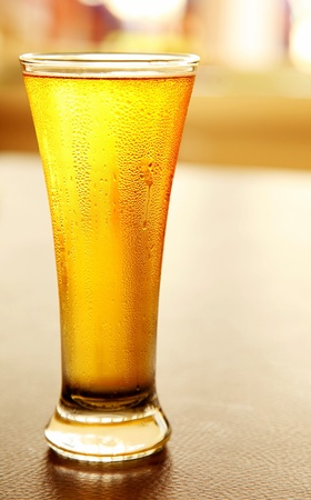Glass of cold beer, draft fresh drink photo