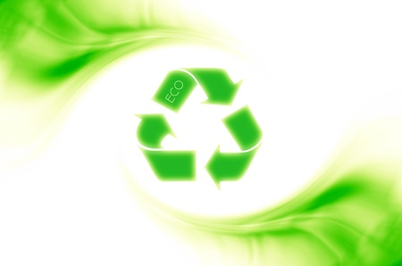 Green recycle symbol isolated, conceptual image of saving earth & helping nature? photo